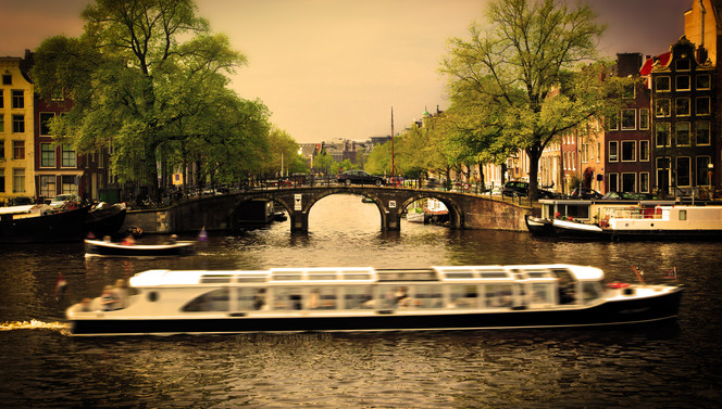 Amsterdam canals and canal boat